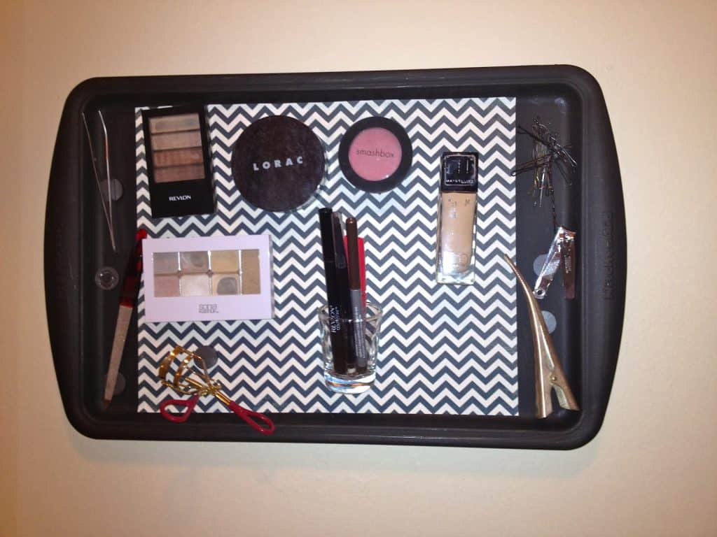 Cookie Sheet Magnetic Makeup Storage Board