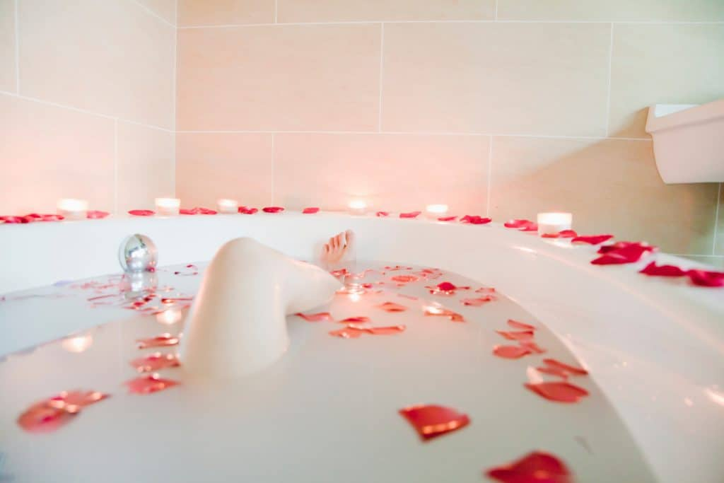 12 Tips To Create An Indulgent Spa Experience At Home - Rose Petal Bath