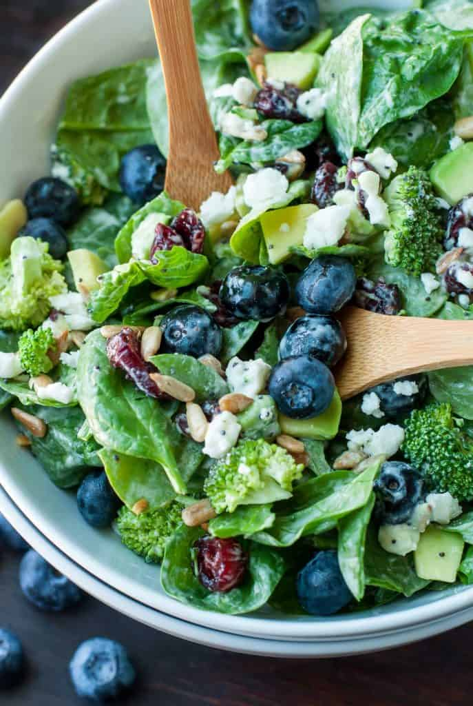 Blueberry Broccoli Spinach Salad with Poppy-Seed Ranch dressing.