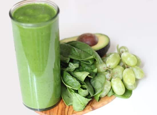 Smoothie Recipes To Boost Your Fruit & Veg Intake - Grape Pear Spinach Sweet Smoothie