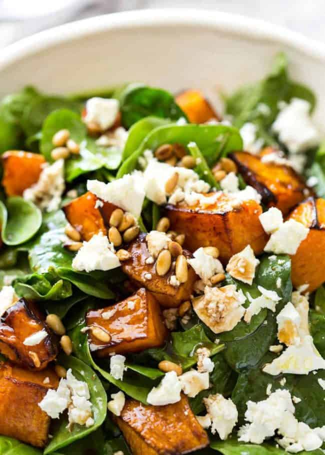 Eat More Fruit & Veg Without Feeling Like A Rabbit - Pumpkin Feta Pine Nut Salad
